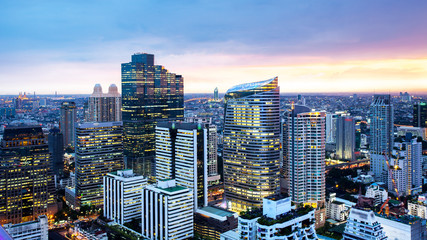 Bangkok Cityscape, Business district with high building at dusk