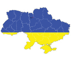 Color map of Ukraine with the regions.