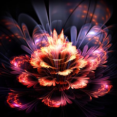 abstract orange and purple flower