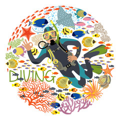 Diver With Underwater Plants And Tropical Fishes