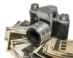 alte analoge Foto Kamera mit Bildern