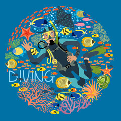 Diver With Underwater Plants And Tropical Fishes Text Diving