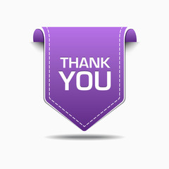 Thank You Purple Label Icon Vector Design