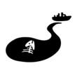 fish bone in oil slick, water pollution concept
