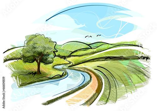 canvas print picture Sketchy Landscape