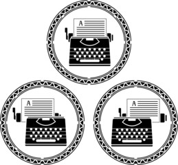 set of typewriters. stencils