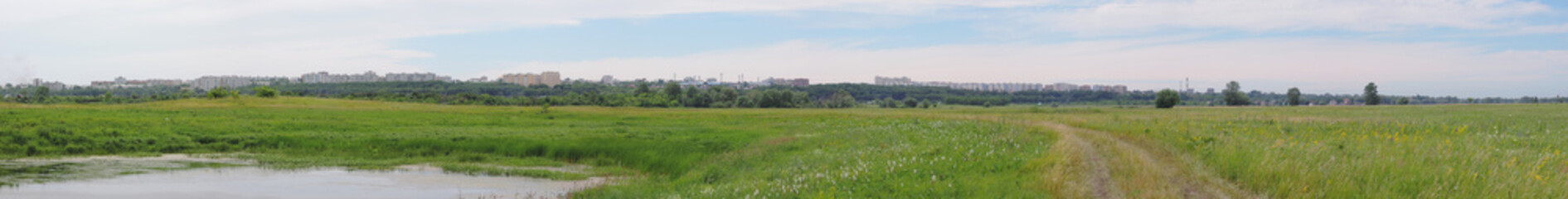 panorama of the city on the horizon