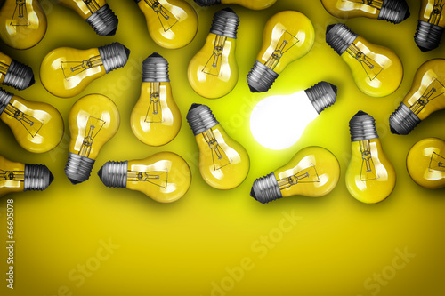 Idea concept with group of light bulbs