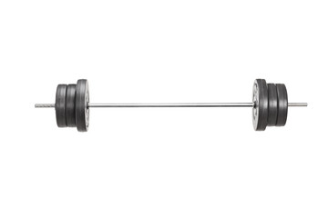 Studio shot of a metal barbell