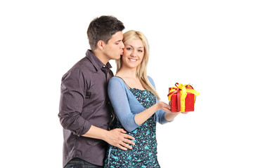 Man giving present to his girlfriend