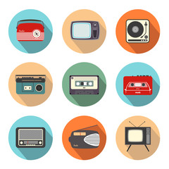 Retro Radio and TV in Flatdesign Style