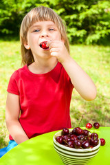 Child eating wild cherry