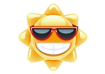 Sun in red glasses