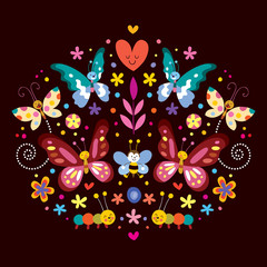 butterflies, flowers nature vector illustration