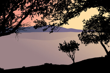 landscape with lake and trees vector