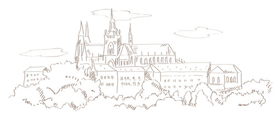 view on Prague and St. Vitus cathedral hand drawing style vector