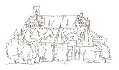 castle Malbork in Poland hand drawing style vector