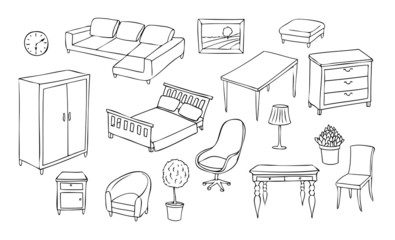 different furniture vector set