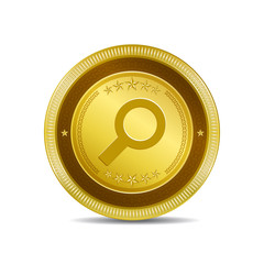 Search Circular Gold Vector Web Button Icon