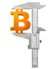 Caliper measures bitcoin symbol. Vector finance concept