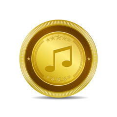 Music Note Circular Vector Gold Web Icon Button