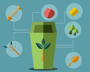 Green Bin Concept Vector