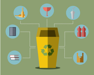 Yellow Bin Concept Vector