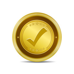 Tick Mark Circular Vector Gold Web Icon Button
