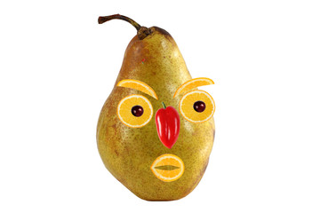 Funny portrait made from pears  and oranges