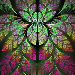 Fabulous fractal pattern in purple, yellow and green. Collection