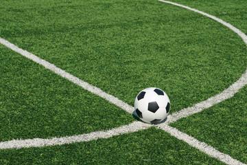 Soccer ball green grass field