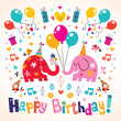 Happy Birthday cute elephants card - 66608888