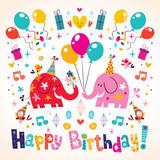 Happy Birthday cute elephants card