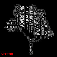 Vector conceptual tree word cloud