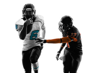 two american football players running silhouette