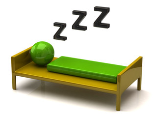 3d illustration of soundly sleeping green person
