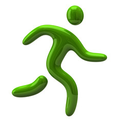 Green running man icon
