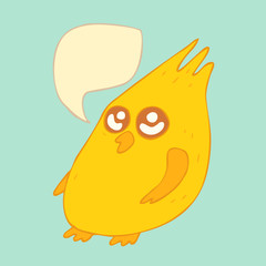 cartoon chicken with voice bubble, (hen) vector illustration