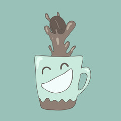 funny cup of coffee, wonderful breakfast, vector illustration