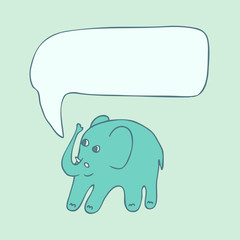 Cute cartoon elephant with voice bubble, vector illustration