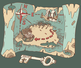 Island Treasure Map, vector illustration, hand drawn