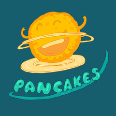Pancakes, wonderful breakfast concept, vector illustration