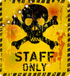 staff only sign w. bullet holes, vector