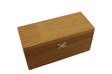 Wooden box with brass catch and lid closed