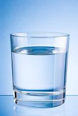Drinking water glass on a blue background