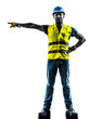 construction worker signaling safety vest silhouette