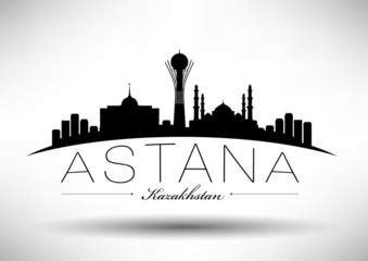 City of Astana Typographic Skyline Design