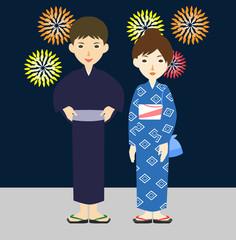 夫婦 カップル 夏祭り 花火 浴衣