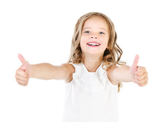 Happy cute little girl with two finger up isolated