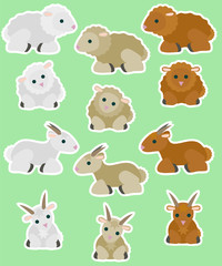 Lambs and goats. Vector set